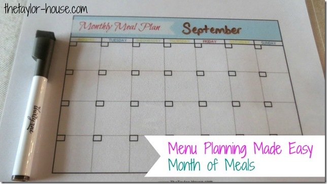 Free Printable Meal Plan