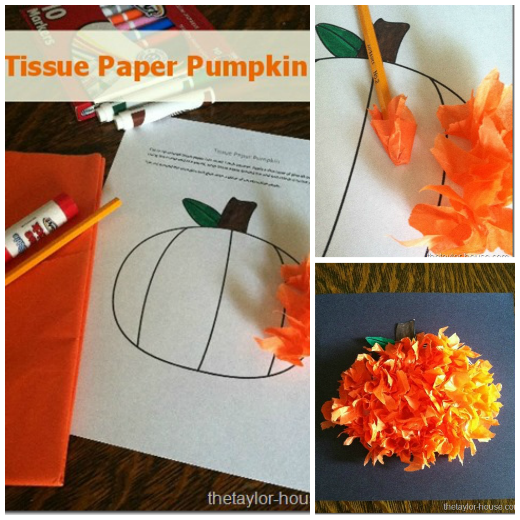 graphic regarding Printable Tissue Paper titled Drop Craft: Tissue Paper Pumpkin The Taylor Household