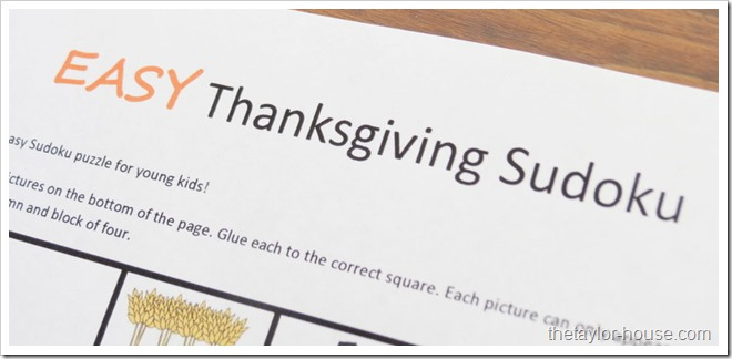 Thanksgiving Activities, Kids Sudoku