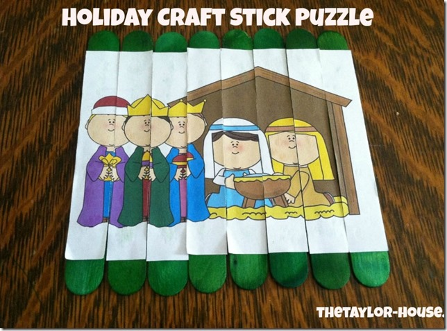 Holiday Craft Stick Puzzle, Christmas Activity