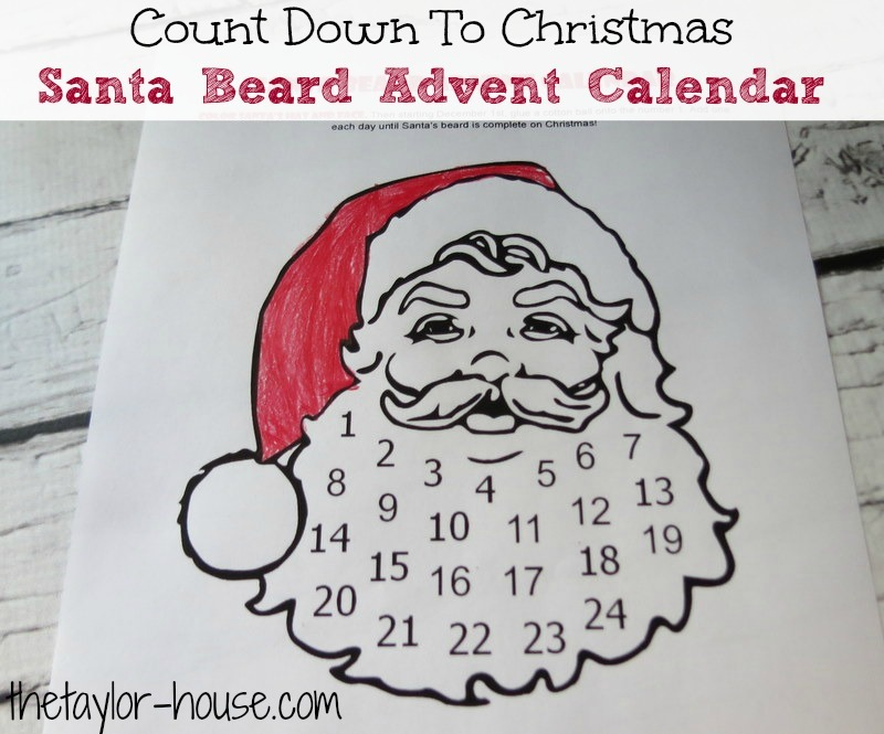 graphic about Printable Christmas Calendar identify Depend Down In direction of Xmas: Santa Beard Introduction Calendar The