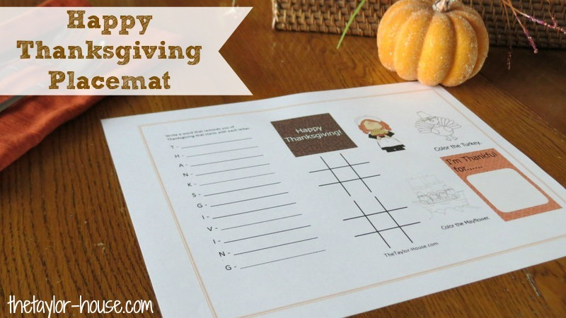 photo regarding Free Printable Thanksgiving Games for Adults called No cost Printable: Thanksgiving Game Placemat The Taylor