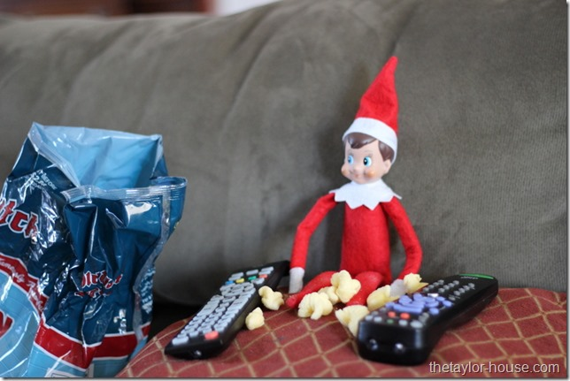 Elf On The Shelf, Elf On The Shelf Ideas, Elf on the shelf watching tv