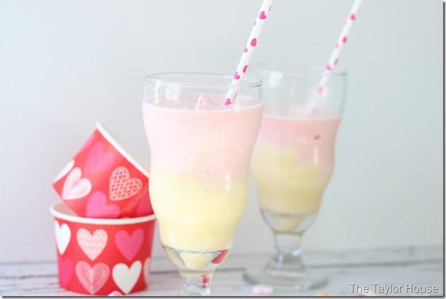 Strawberry Ice Cream Shake, Valentine Shake, Layered Shake