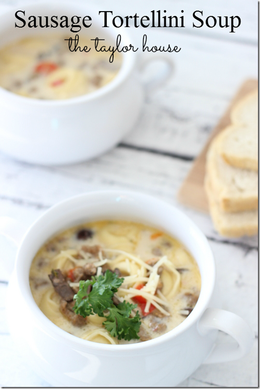 Slow Cooker Sausage Tortellini Soup, Sausage Tortellini Soup, Slow Cooker Soup, Jimmy Dean Crumbles