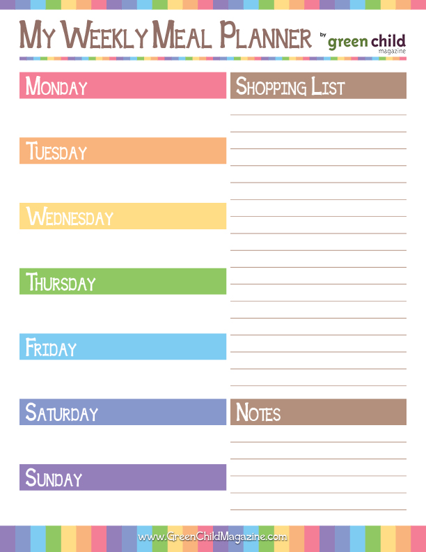 ... has a colorful Weekly Meal Plan Printable that comes in two versions
