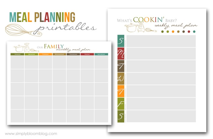 ... gorgeous versions as well, great Free Printables for meal planning
