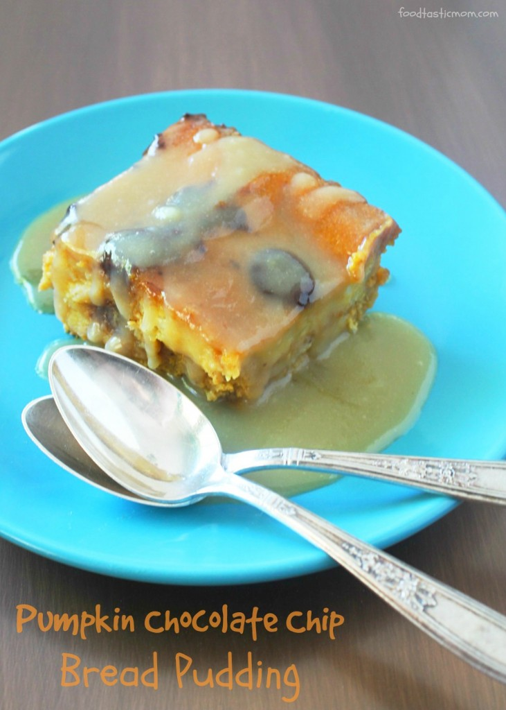 Pumpkin Chocolate Chip Bread Pudding by Foodtastic Mom