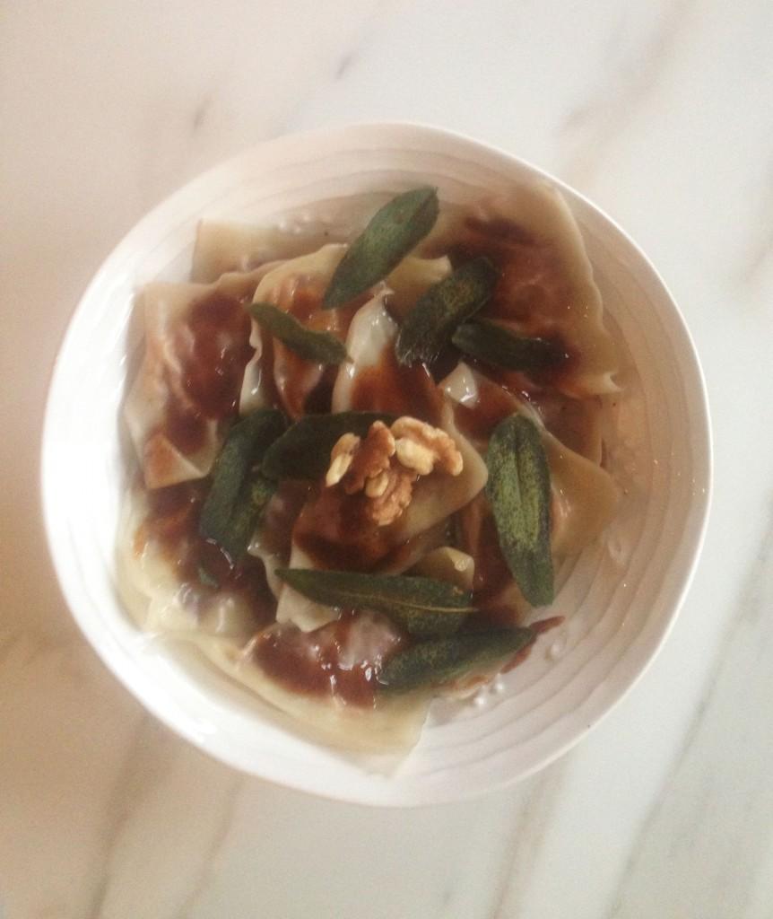 sweet potato ravioli with balsamic reduction crispy sage brown butter 3