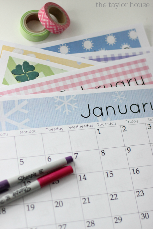 FREE 2015 Printable Calendar with custom headings for each month!