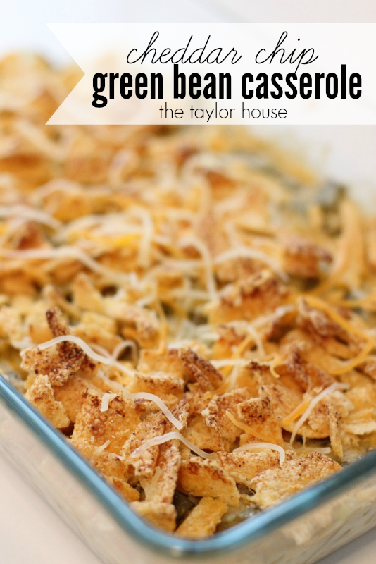 Delicious and easy to make Green Bean Casserole topped with Cheddar Chips!