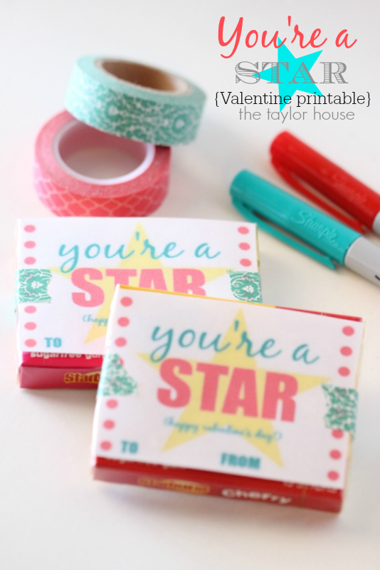 DIY Valentine Printable: You're a Star - perfect for school Valentine Party!