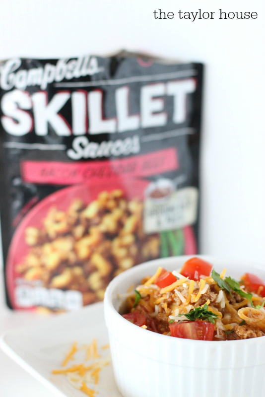 #CampbellsSauces, Taco Skillet, Easy Recipes, Easy Skillet Recipes, Campbell's Skillet Recipes