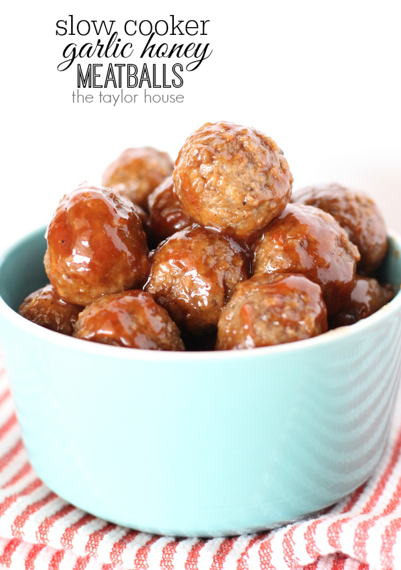Delicious and easy to make slow cooker Garlic Honey Meatballs - perfect for the Holiday season!