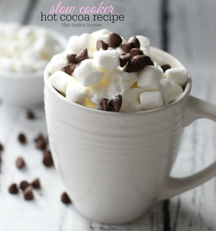 Delicious and easy to make Slow Cooker Hot Cocoa Recipe for those cold winter months!