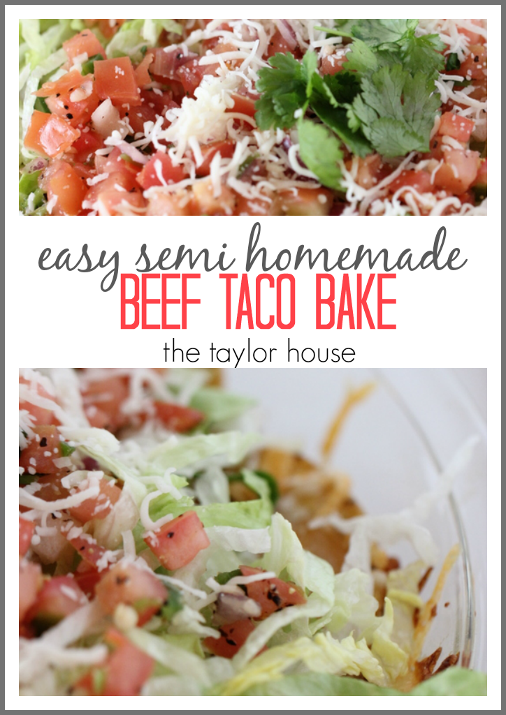 Easy Semi Homemade Beef Taco Bake Recipe that's perfect for Super Bowl Sunday!