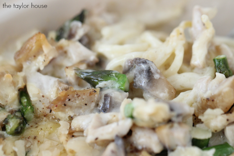 Delicious Chicken Tetrazzini Casserole with a creamy homemade sauce!