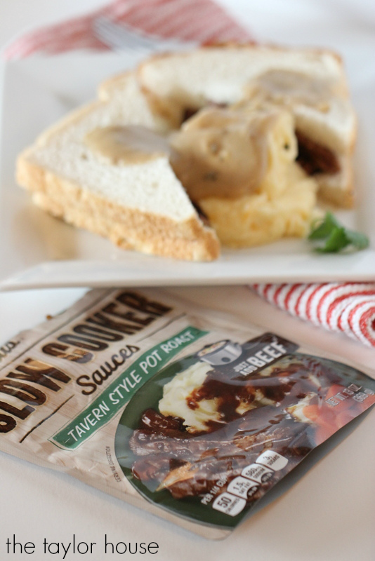 Easy to make Hot Beef Sandwich with Potatoes and Gravy using #CampbellsSauces!