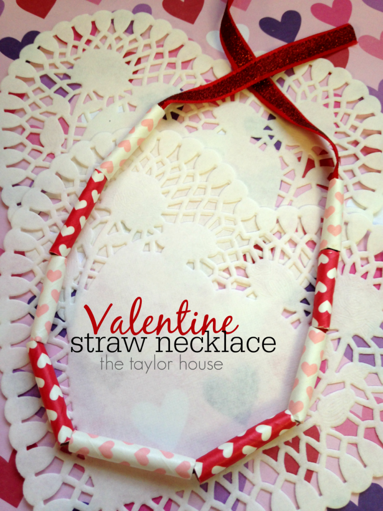 DIY Valentine Kids Craft: Homemade Necklace that from paper straws!