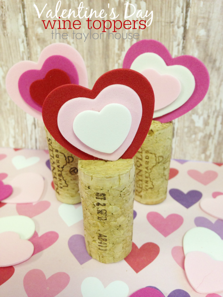 Valentine's Day Wine Cork Toppers that are cute and simple to make!