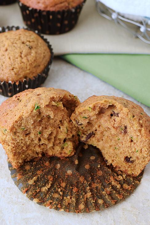 Zucchini muffins open