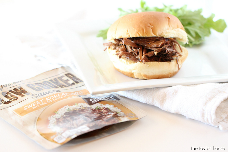 Delicious Slow Cooker Sweet Korean BBQ Sandwich using Campbell's Sauces!