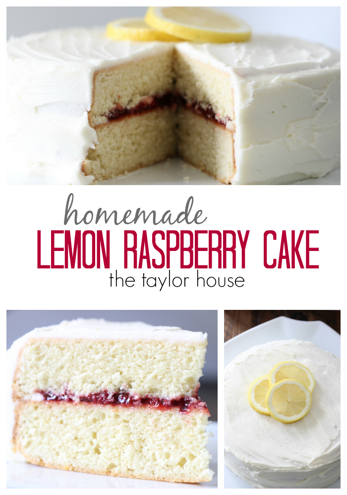 Delicious Homemade Lemon Cake with Raspberry Filling!