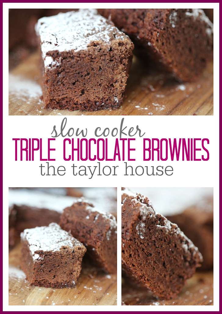 Delicious Slow Cooker Triple Chocolate Brownies!