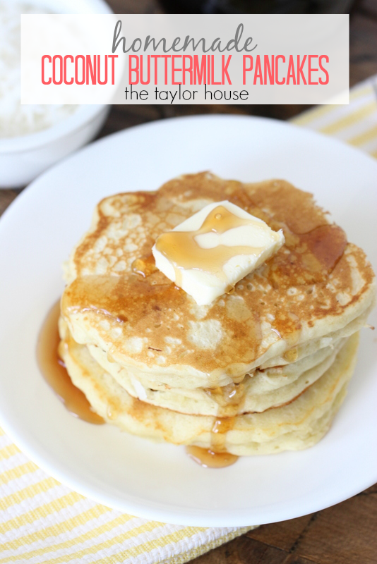 Delicious Coconut Buttermilk Pancakes that your family will love!