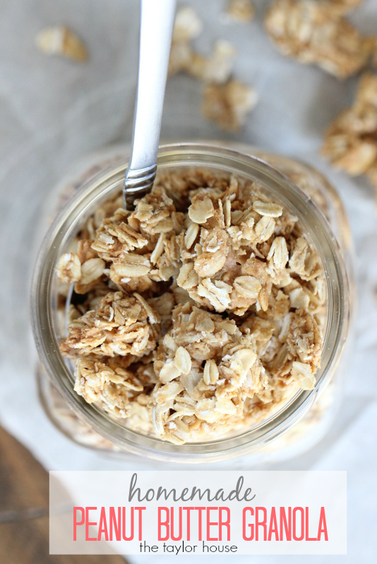 Homemade Four Ingredient Peanut Butter Granola Recipe!