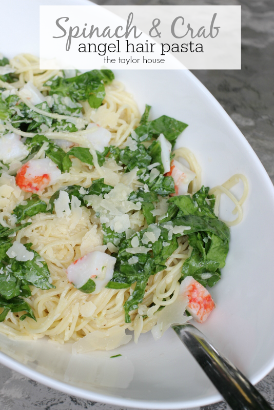 Spinach Crab Angel Hair Pasta - the perfect Wine Pairing Dish!