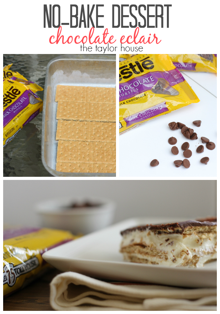 Delicious and simple No-Bake Chocolate Eclair Dessert!