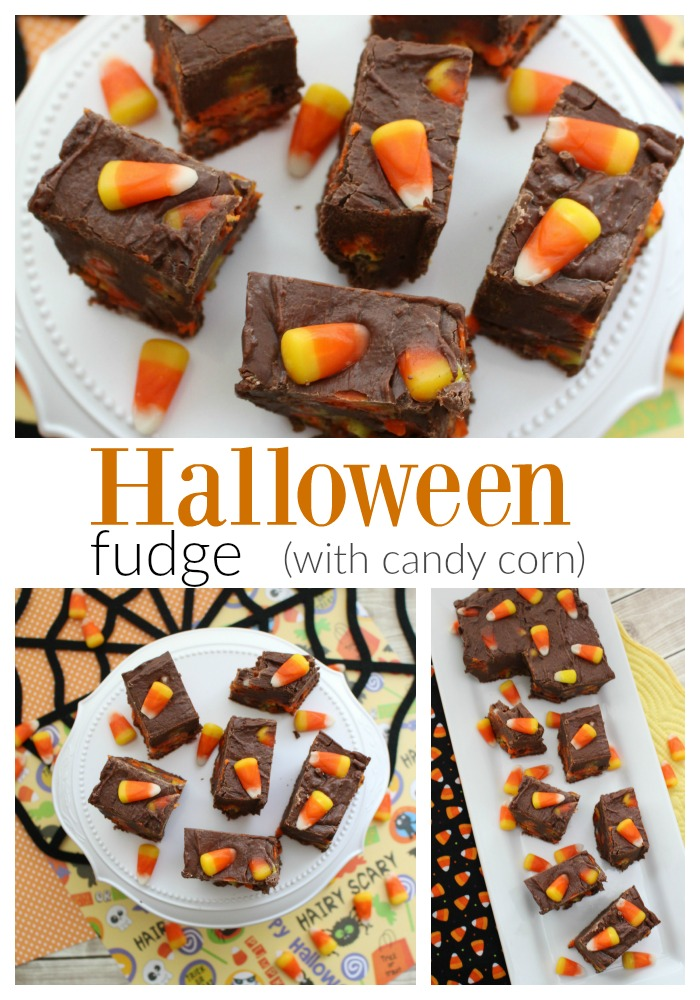 Delicious and simple to make Halloween Fudge, with candy corn!