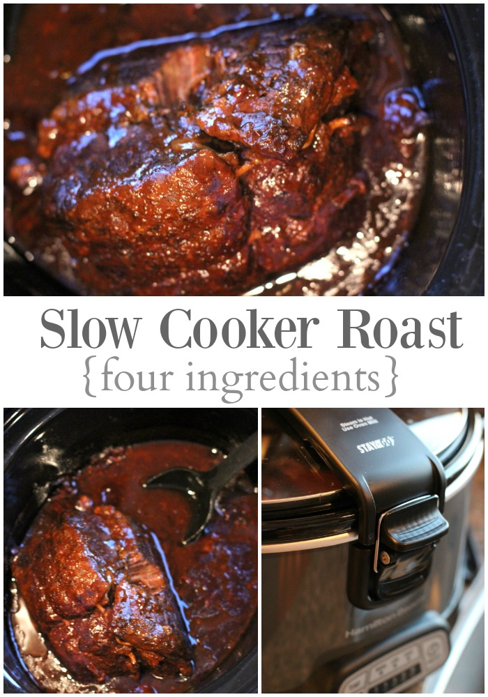 Deliciously easy to make Four Ingredient Slow Cooker Roast!