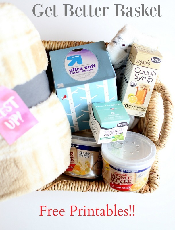 Help Friends and Family when they're under the weather with this Get Better Basket - free Printables too!