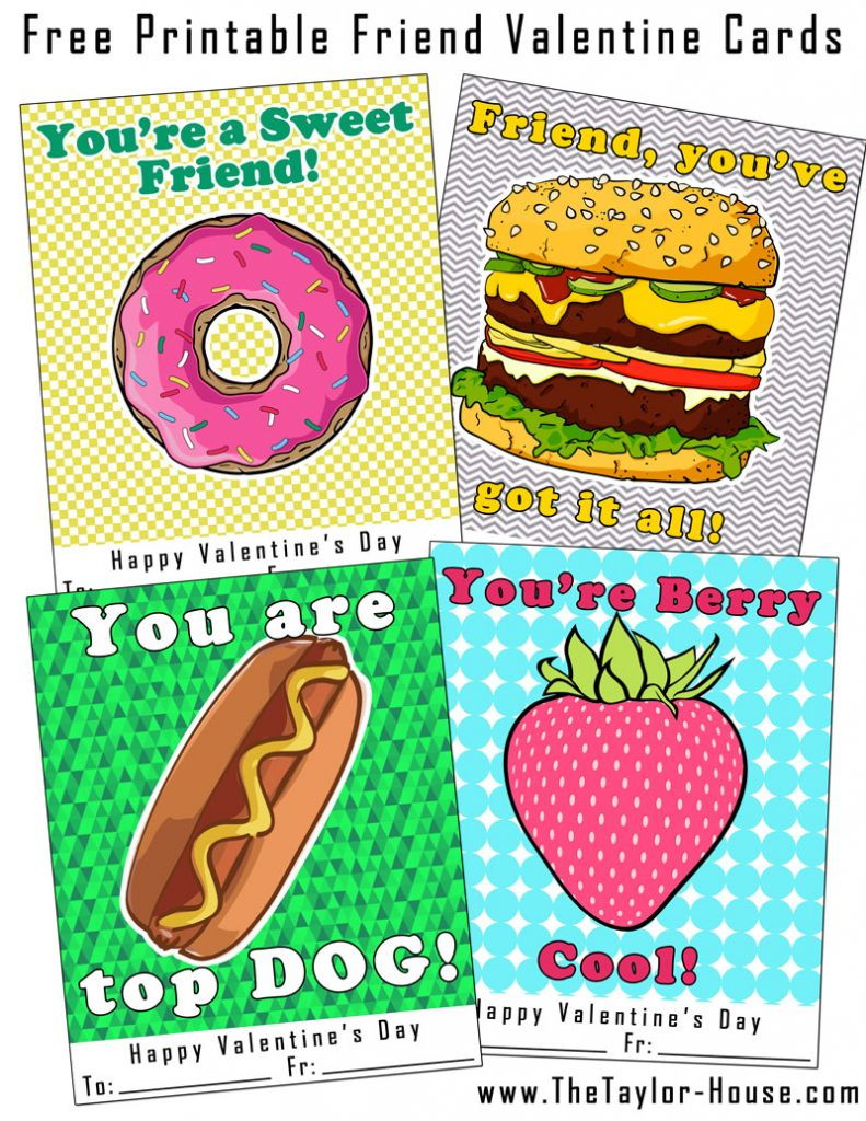image relating to Printable Friendship Cards called Cost-free Printable Buddy Valentine Playing cards The Taylor Place