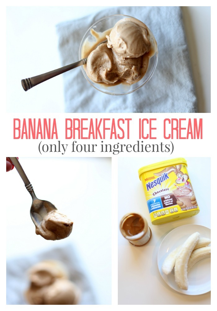 Simple to make Banana Breakfast Ice Cream - only four ingredients!