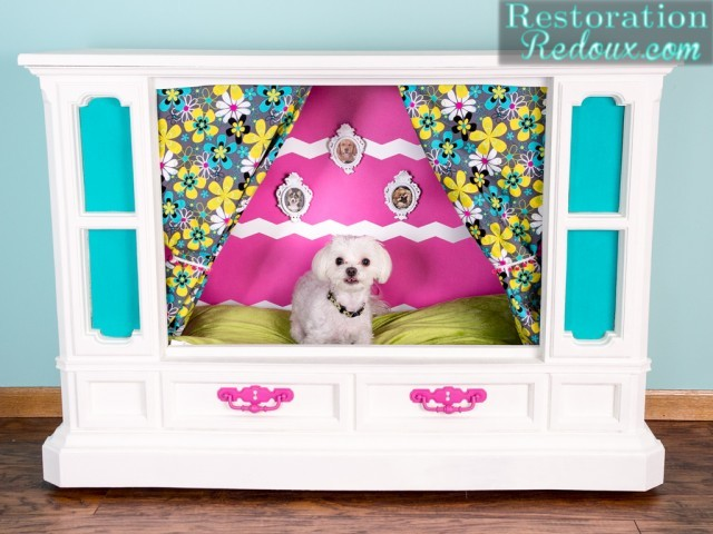 Adorable White and pink dog bed from an old TV
