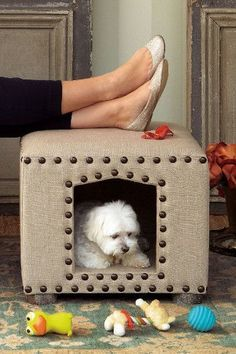DIY Dog Bed from an Otoman