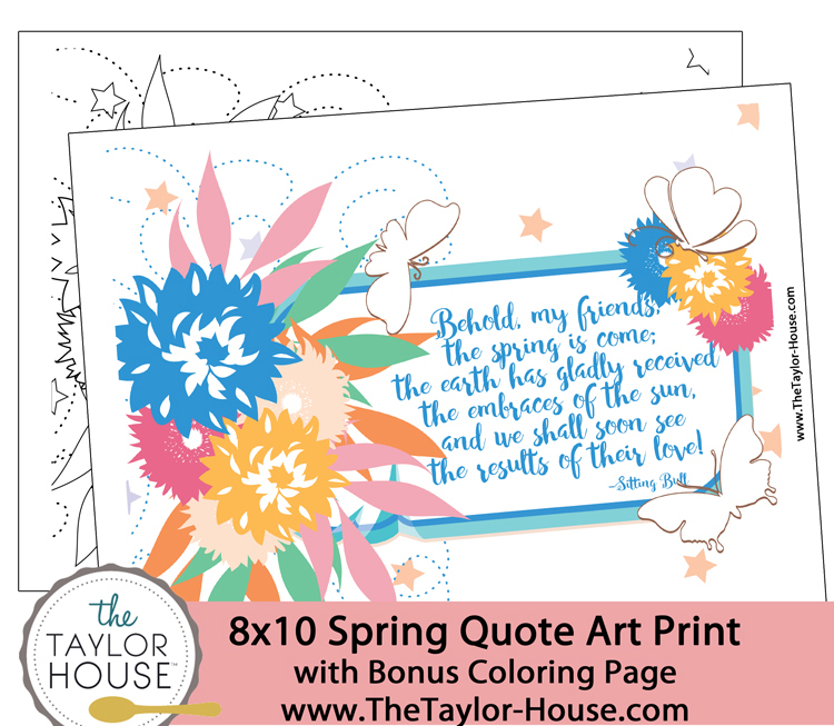 Spring Quote Art Printable and Coloring Page
