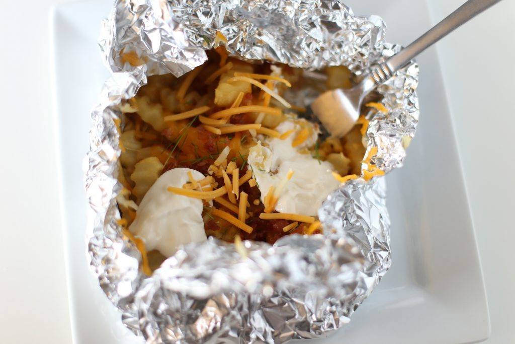 Tin Foil Loaded French Fries - made over the grill!