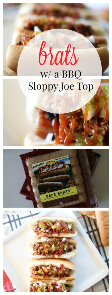 Delicious Johnsonville Brats with a BBQ Sloppy Joe Topping!