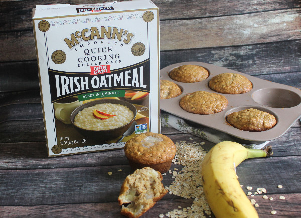 Delicious Oatmeal Banana Muffins that are perfect for breakfast!