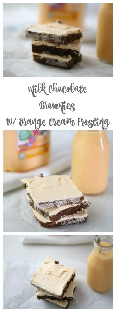 Milk Chocolate Brownies with Orange Cream Frosting
