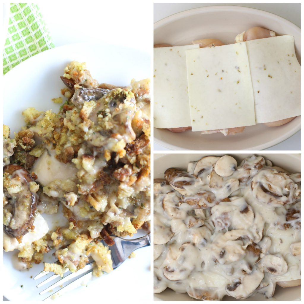 chicken and stuffing casserole with cheese