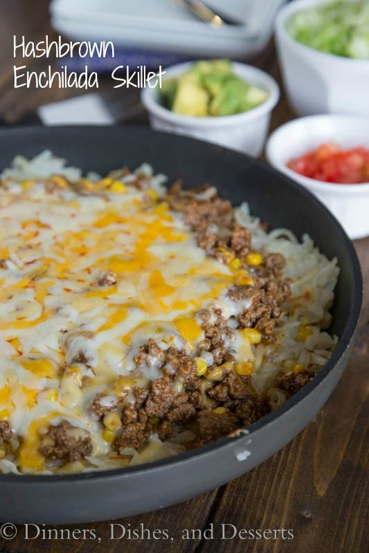 Hamburger Hashbrown Enchilada Casserole from Dinner, Dishes and Desserts