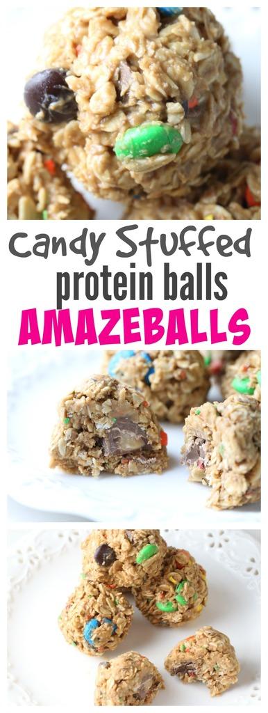 Candy Stuffed Protein Balls (Amazeballs)