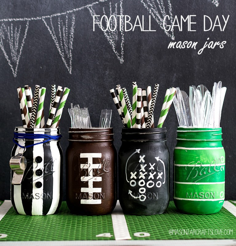 Football Game Day Mason Jars