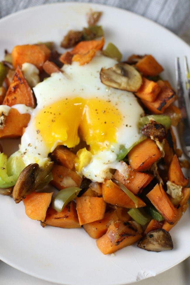 Simple Sweet Potato Hash with Eggs that's Healthy too!