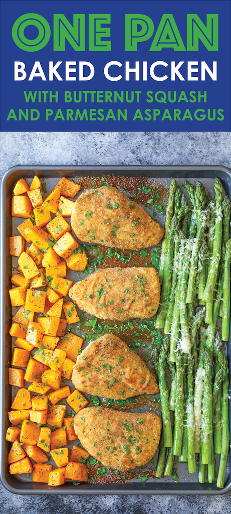 One Pan Baked Chicken with Butternut Squash and Parmesan Asparagus from Damn Delicious
